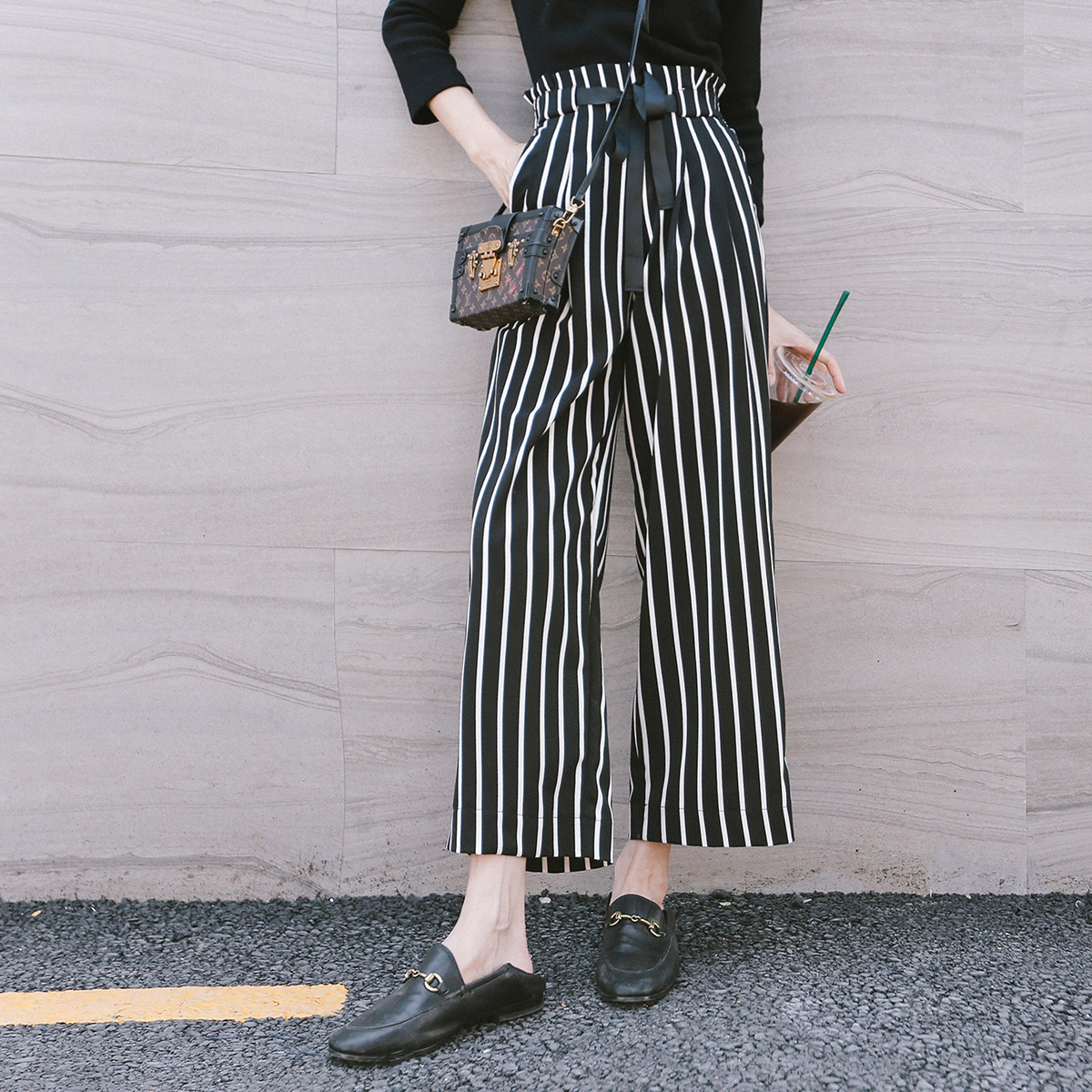 e650f0d43154 Seven grid wide leg pants female spring 2019 new high waist black and white vertical  stripes · Zoom · lightbox moreview · lightbox moreview ...
