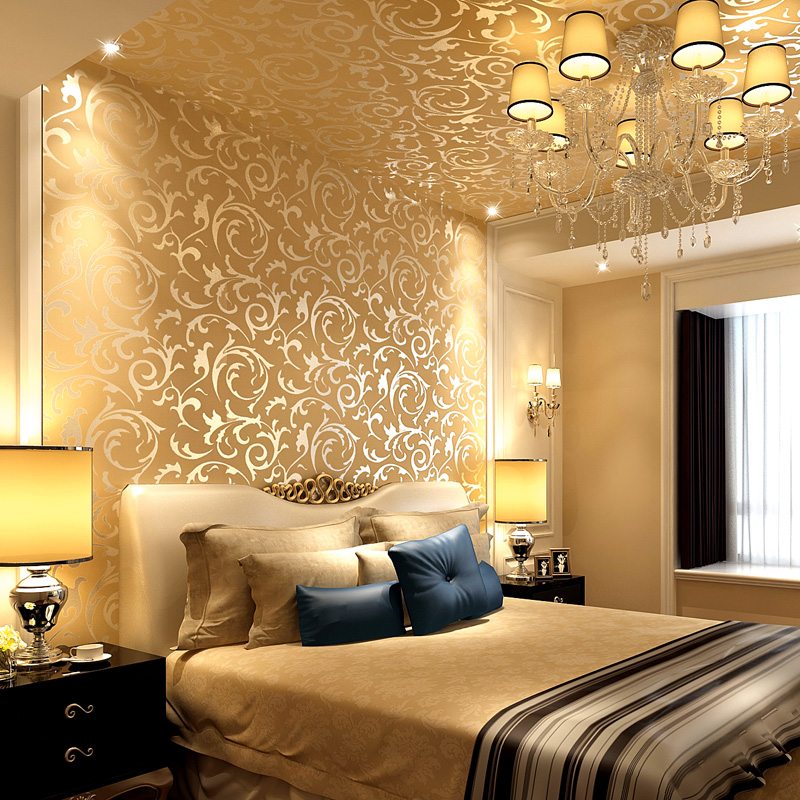 Luxury European 3d Stereo Gold Gold Foil Wallpaper Living Room TV  Background Wall Project Ceiling Wallpaper