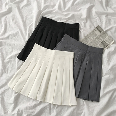 taobao agent Super fire college style solid color high waist skirt tide 2021 summer new style women's anti-glare pleated short skirt