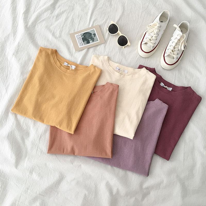 网红ins宽松半袖体恤学生潮夏季2019新款女装韩版短袖上衣纯色t恤