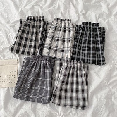 taobao agent Plaid casual pants 2021 spring and summer new women's Korean elastic high waist loose wild wide-leg pants trousers