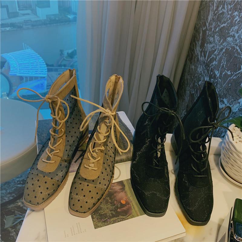 a鞋子精BI入韩版鞋子女复古网纱波点透明小性感方头木跟系带马丁靴