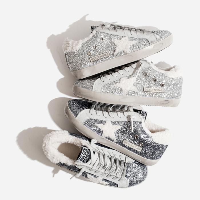 Ulzzang|韩国东星星网红大门亮片a星星棉鞋运动鞋羊羔绒银色冬款女