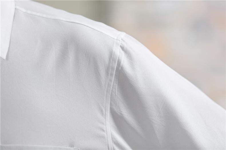 Cha người đàn ông trung niên ngắn- tay áo sơ mi trắng phần mỏng mùa hè kích thước lớn trung niên áo sơ mi lỏng màu rắn ông nội áo sơ mi áo sơ mi nam tay ngắn form rộng