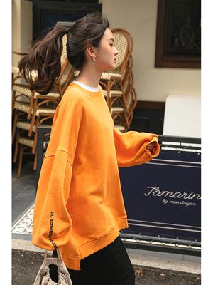 LOVEHEYNEW薄款橘色oversize卫衣女秋卡通熊bf风长袖上衣
