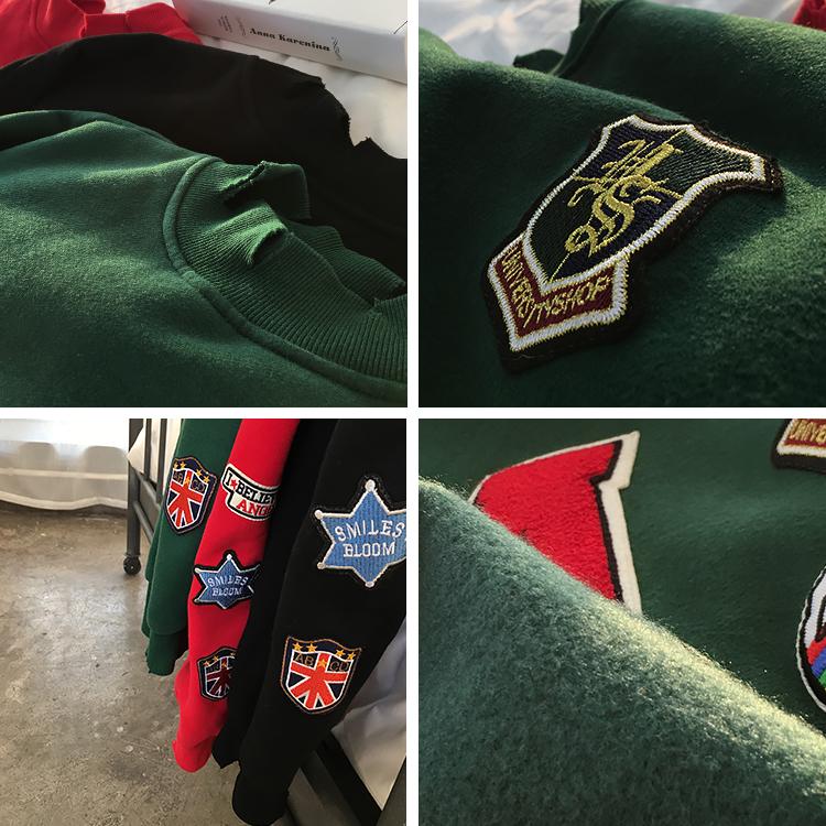 Ins gió bất thường nửa cao cổ áo hoài cổ rửa sạch và cắt thối cờ đỏ thêu tiêu chuẩn dày lỏng vài mô hình áo len