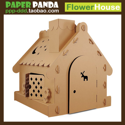 PAPER PANDA Oversized Kindergarten Children's Play House DIY Toy House Cardboard House Carton Tent