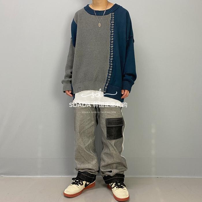 日韓代購~韓國代購20FW UNBALANCE BLOCK OVER KINT拼色拼接不規則套頭毛衣