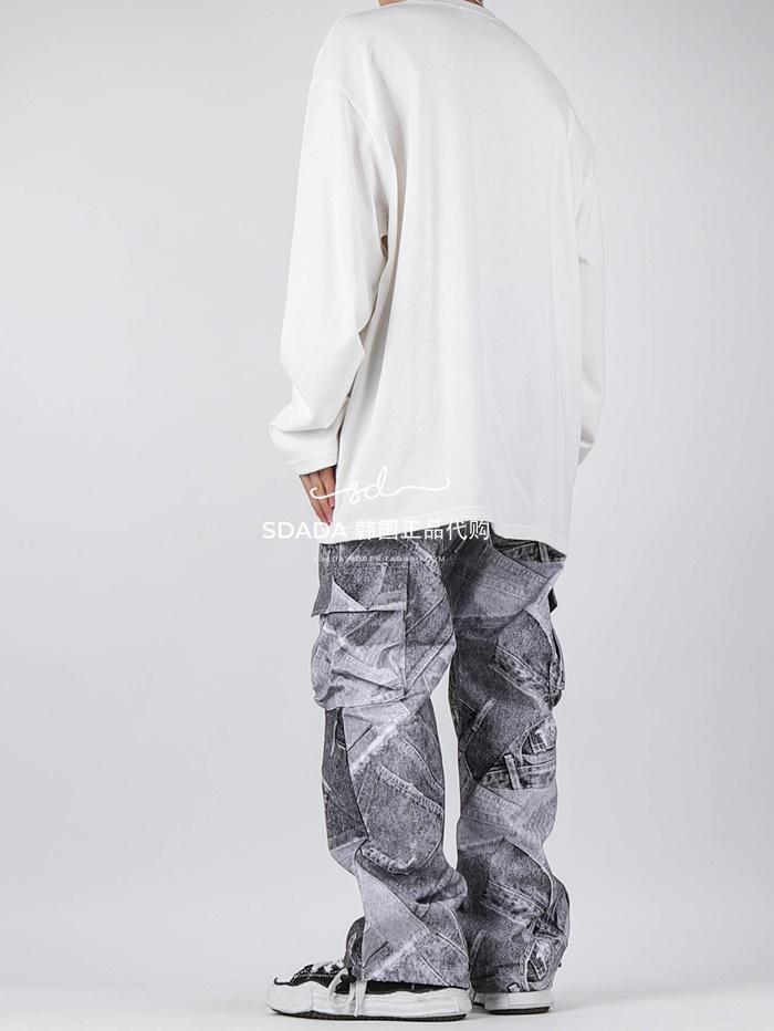 日韓代購~韓國代購20FW PATCH REWORK JEANS 設計師抽繩牛仔褲 男女