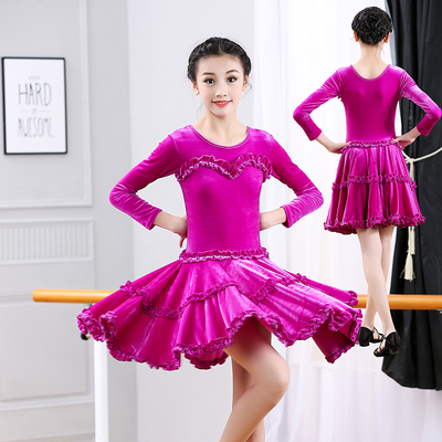 Girls Latin Dance Dresses Latin Dance Dresses Long Sleeve Performance Regulations Examination Dresses Children's Professional Dance Dresses Suede Dresses
