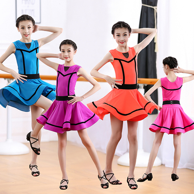 Girls Latin Dance Dresses Latin dancing dress sleeveless one-piece Performance Training Dress