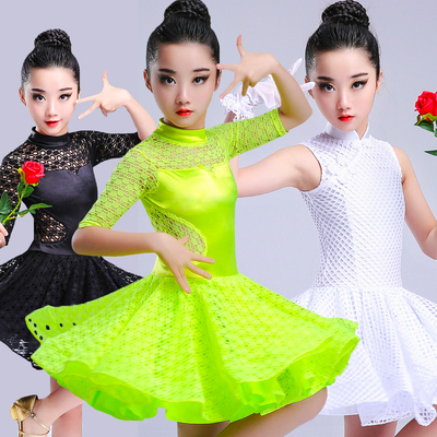 Girls Latin Dance Dresses Latin Dance Competition for Children and Girls Standard lace hollow dress shows sleeveless clothes