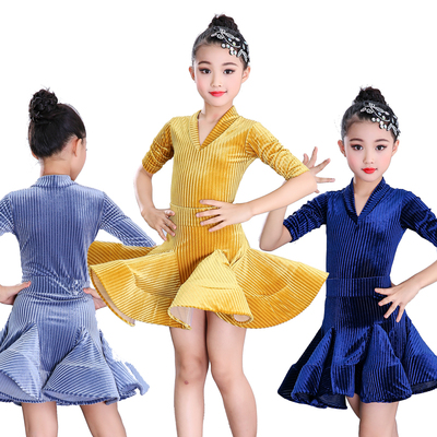 Girls Latin Dance Dresses Girls Latin Skirt Mid-sleeve Dance Clothing Thickened Velvet Professional Competition Performing Dress Practice