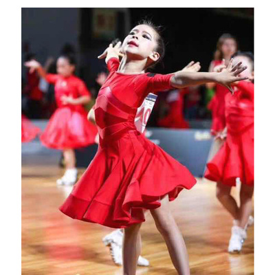 Girls Latin Dance Dresses Latin skirt girls'professional training clothes