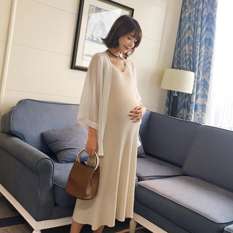 背心连衣裙弹力2020新款韩版子潮针织孕妇夏季长裙裙孕妇夏装无袖