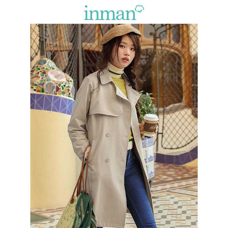 茵曼女装春秋款纯色西装领搭片双排扣系带中长款风衣外套女修身