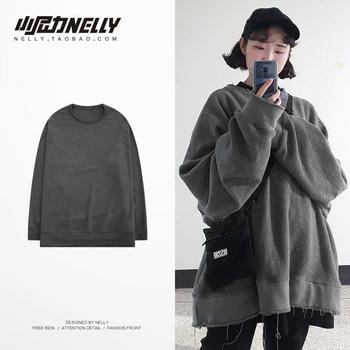 Korean Sweatshirt Retro Long Sleeve Wash Round Neck Casual Terry Loose Top Clothes Bottoming Shirt Trend T Men and Women