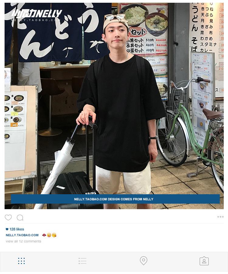 原宿宽松T恤男女bf百搭简约圆领短袖5