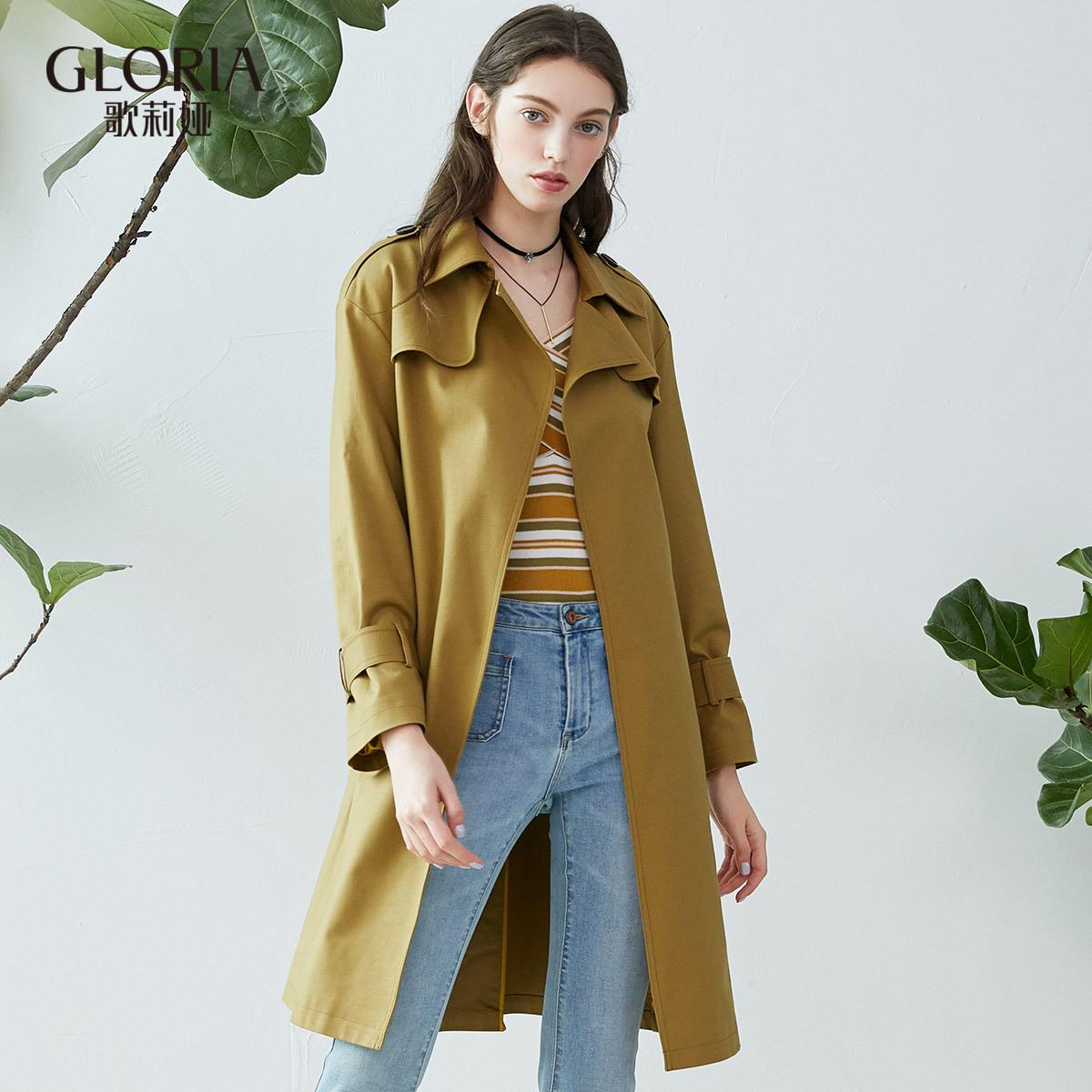 GLORIA-歌莉婭女裝冬季新品腰帶翻領風衣179K6E900