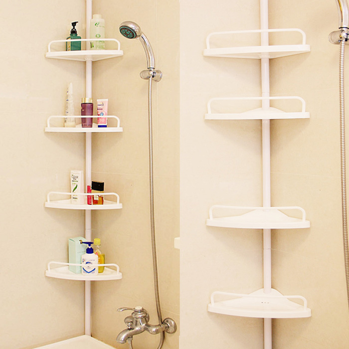 Double Celebration Toptop Bathroom Shelf With Free Drilling Floor To Ceiling Corner