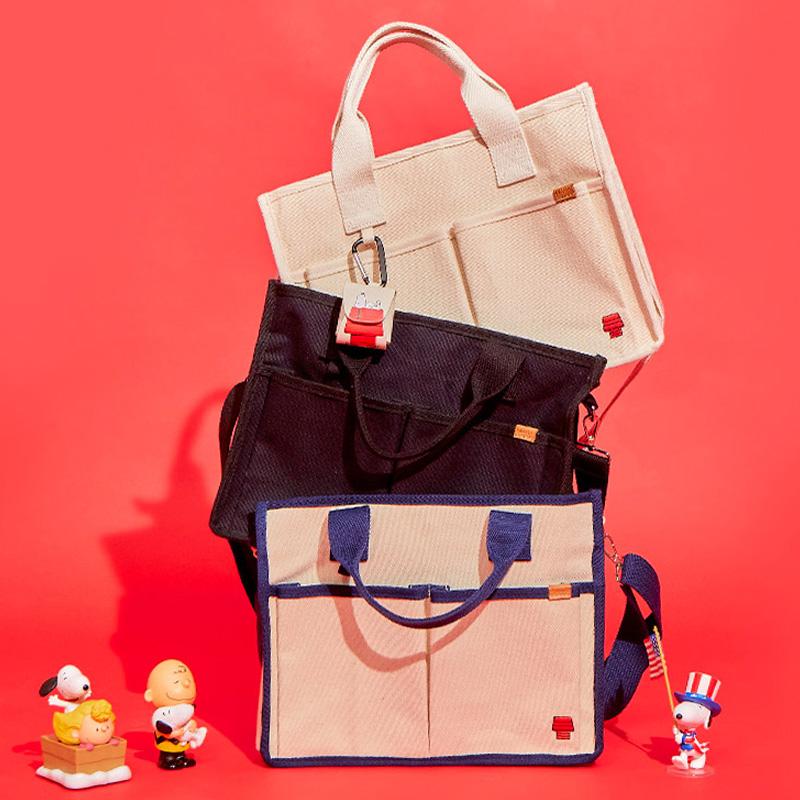 SHOOPEN韩国代购史努比联名款女新款可爱v卡通卡通帆布手提斜跨包