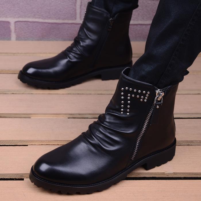 马丁靴男皮靴韩版英伦尖头短靴男靴子高帮皮靴内增高男式潮流靴子