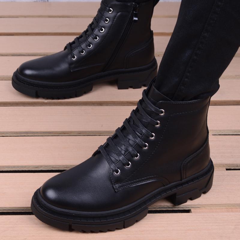 马丁靴男高帮冬季工装靴百搭韩版潮流靴子中帮男鞋英伦尖头皮靴子
