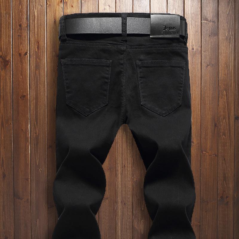 黑色男士修身小直筒牛仔裤弹力学生裤韩版小脚裤潮青年纯黑牛仔裤
