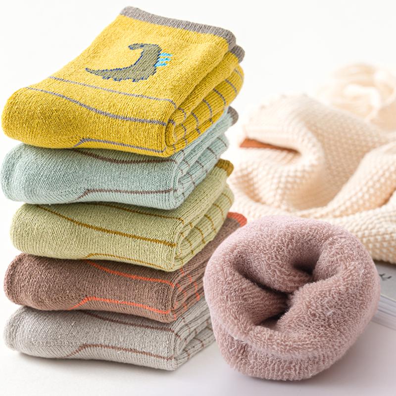 儿童袜子秋冬季纯棉加厚保暖中筒袜男童加绒毛圈袜中大童袜宝宝袜