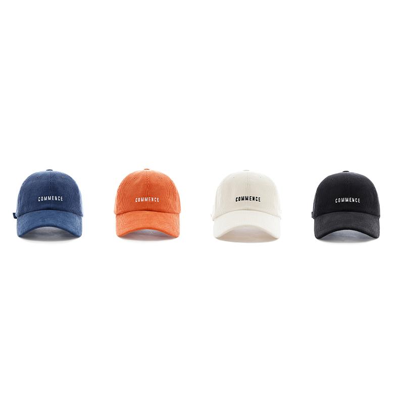 韓國commence小字母燈芯絨鴨舌帽男女潮秋冬新款棒球帽ins進口帽