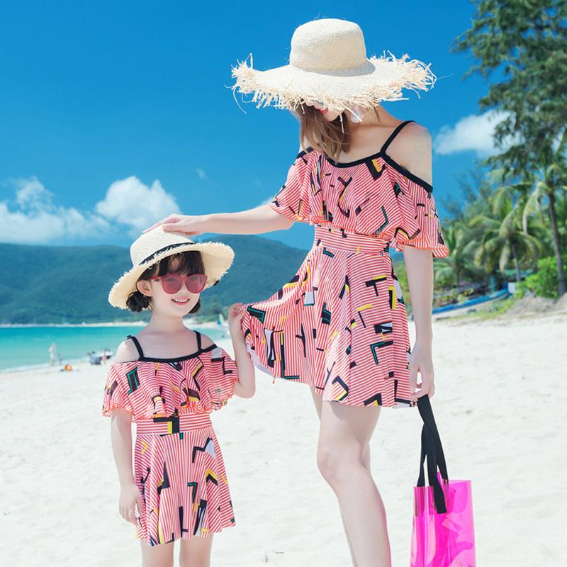 Отцовство семья купальный костюм мать и дочь сиамский юбка страхование охрана девочки спа корея милый ребенок новый плавать наряд