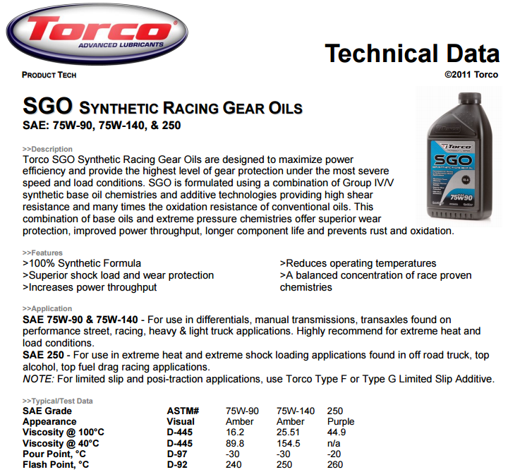 TORCO SGO 75W90 full synthetic gear oil manual gearbox oil differential oil  quiet smooth