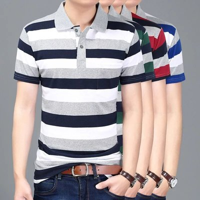 2 piece 35 large size loose men's short-sleeved lapel really pocket striped T-shirt cotton tide students loaded dad installed