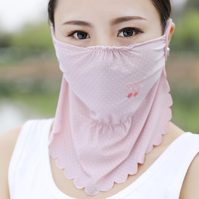 2019春夏季新款波浪边冰丝口罩护颈脖水果刺绣女士骑行防晒口罩