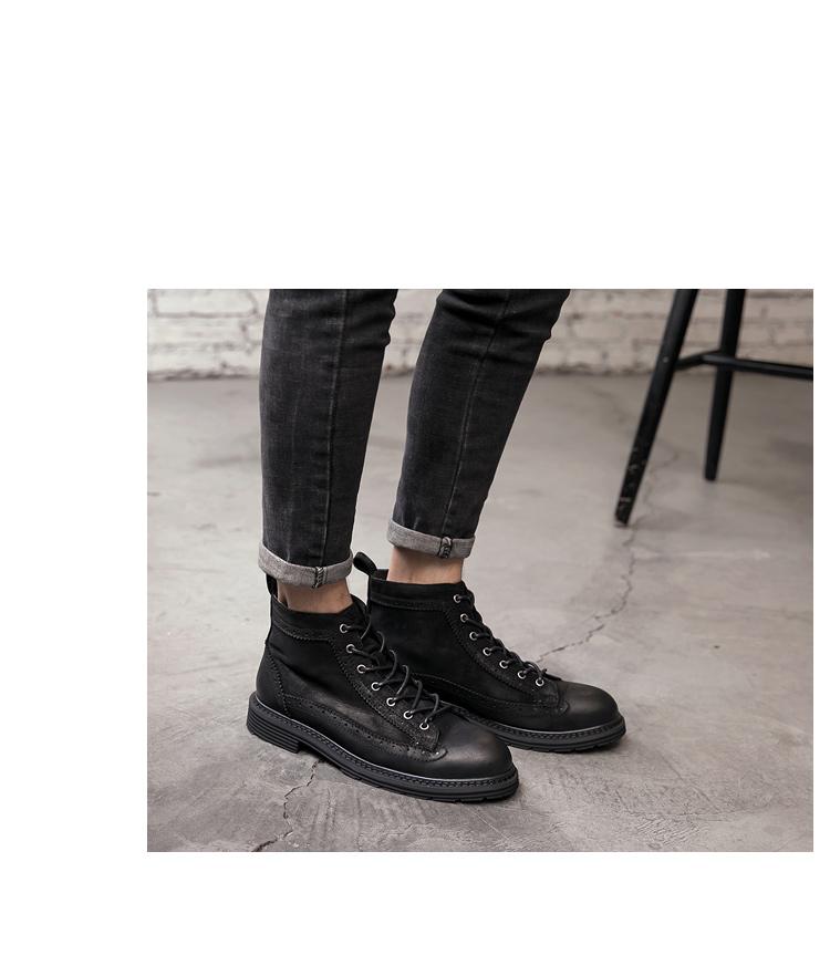 新款 尖头真皮布洛克系带 男皮靴 高帮鞋马丁靴 19-3-P265控338