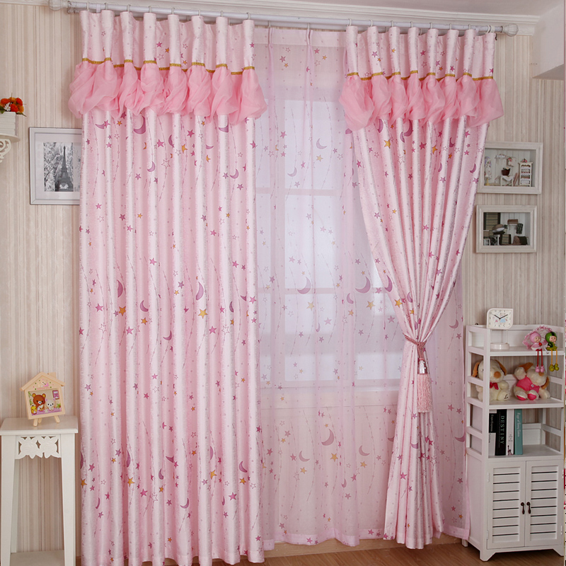AI Shang Jia Princess Style Korean Moon Stars Cute Dream Bedroom Childrenu0027s  Curtains Finished Warm And