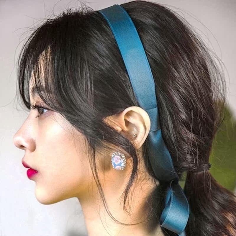 韩国进口头饰清新超长飘带发箍韩版带齿防滑头箍布艺绑带森女压发