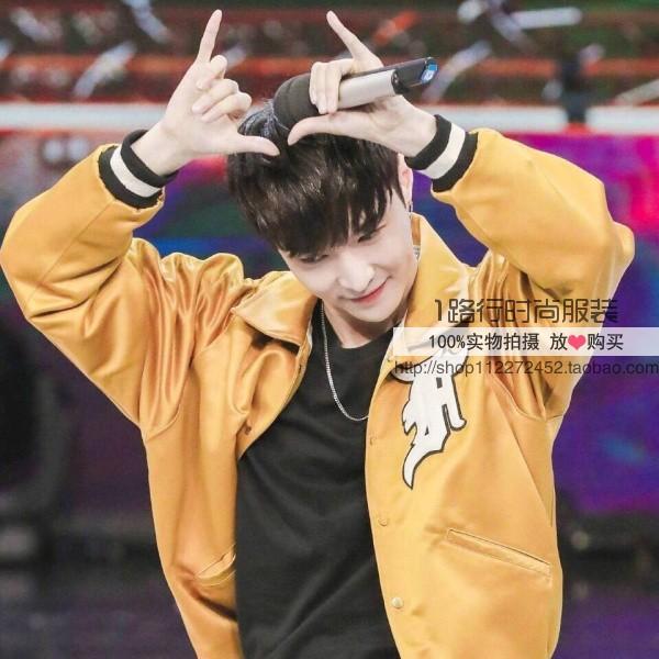 Chúc mừng Trại Zhang Yixing với chiếc áo khoác màu vàng Zheng Yunhao Li Yifeng thêu đồng phục bóng chày áo khoác