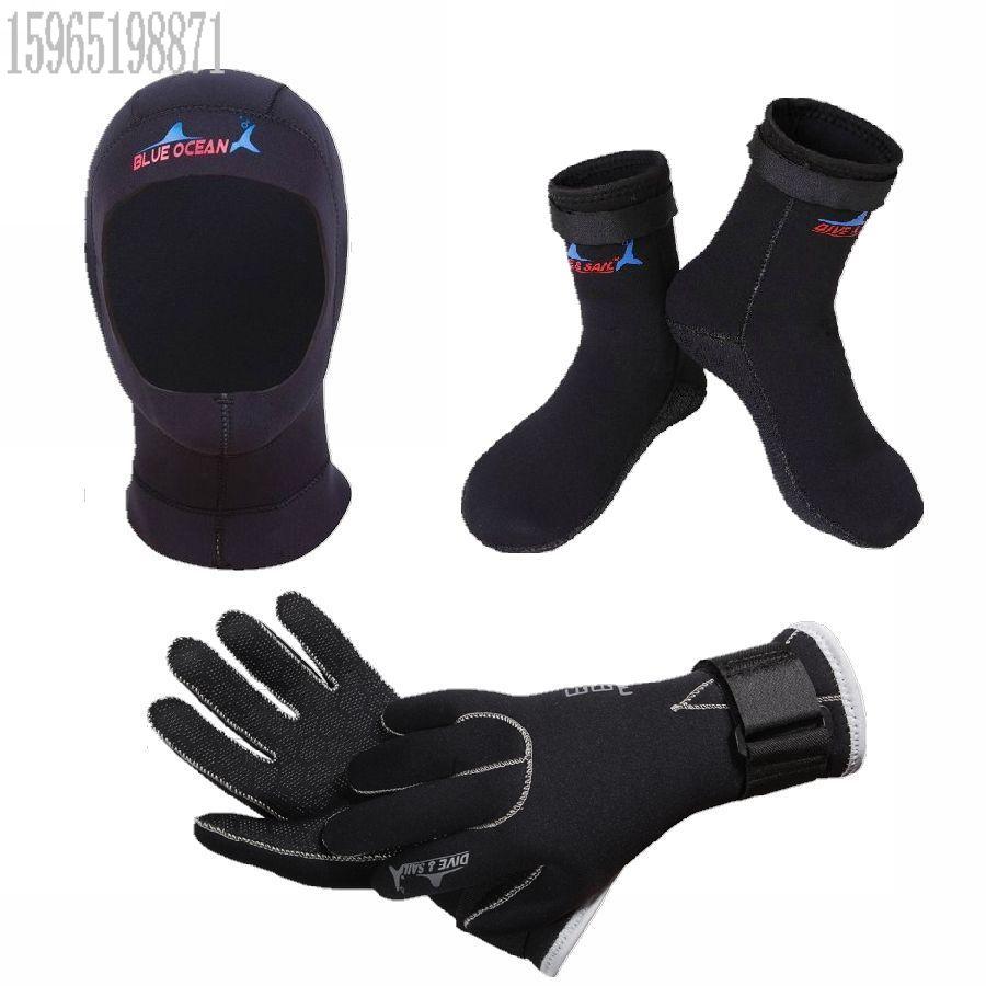 3MM подводный шлем перчатки удерживающий тепло Зимние носки плавание перчатки с маской и трубкой утепленный Дайвинг носки серфинг