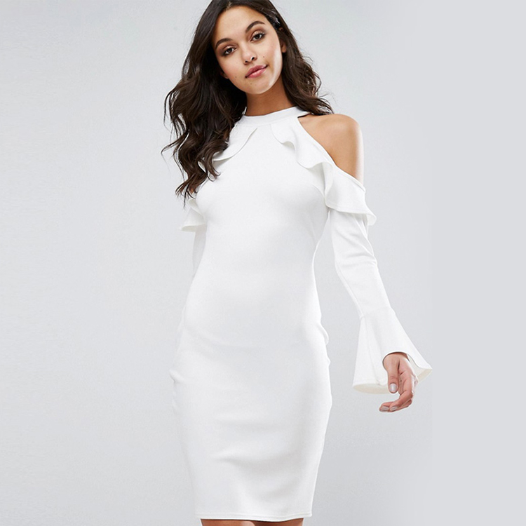 cold-shoulder-long-sleeved-dress