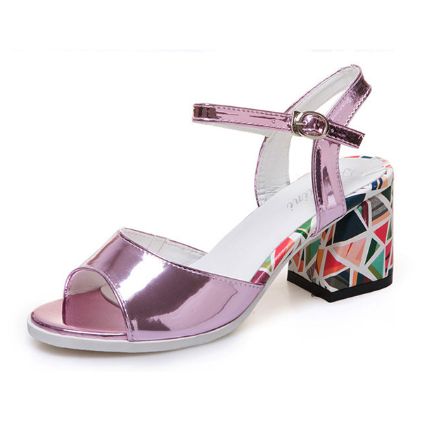 Printed Rough heel sandal, mirror shoes purple's main photo