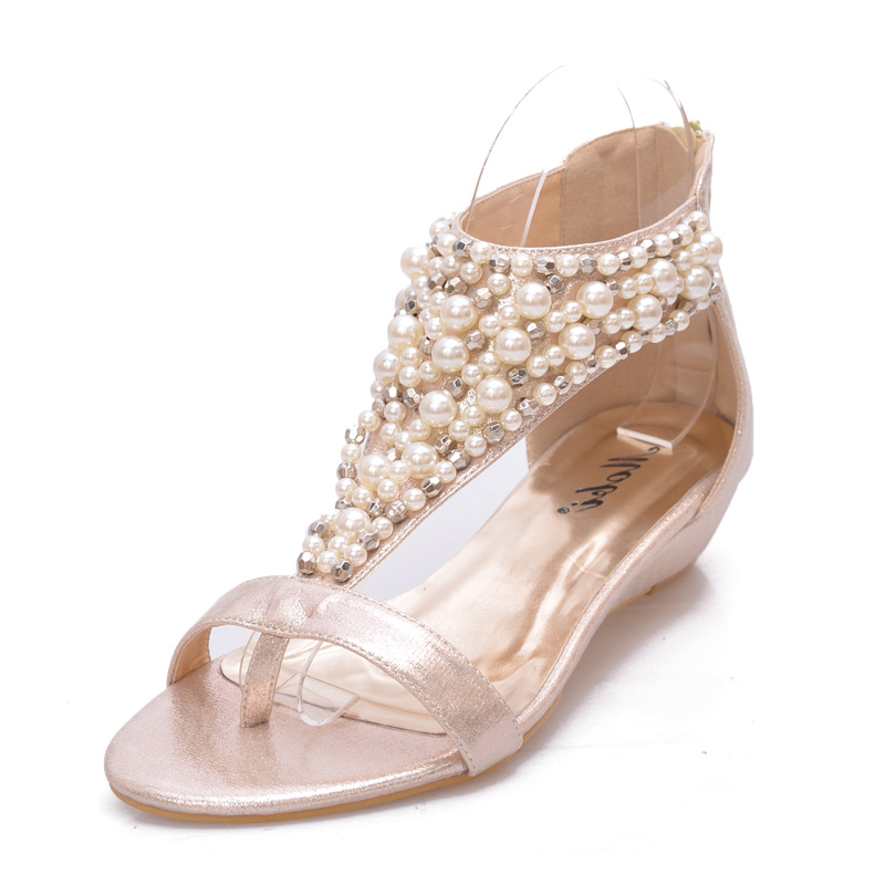 Golden leather Sandals with pearl Mix Anklet's main photo