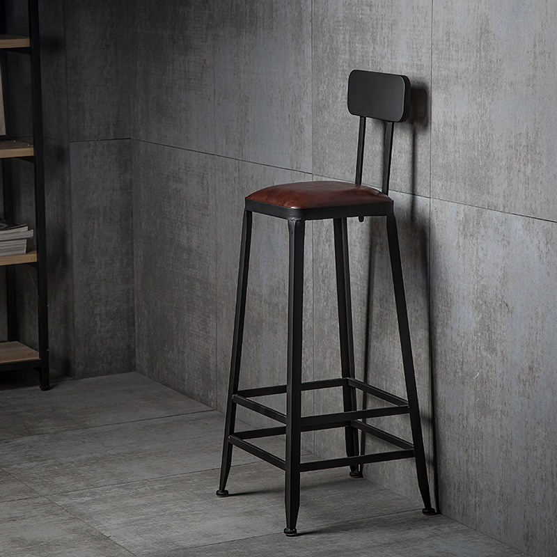 Bar Stool High Chair Wrought Iron Solid Wood Back Bar Stool Table And Chair  Modern Minimalist High Chair Bar Chair High Stool