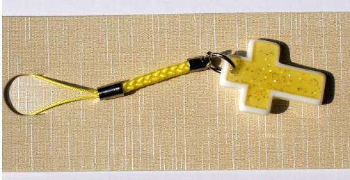 水晶十字架手机链挂件挂饰吊坠 以马内利手工串珠diy饰品材料包