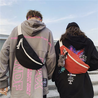 Japanese waist-band men's tide card ins student sloping bag women simple fashion chest bag canvas light small cross bag