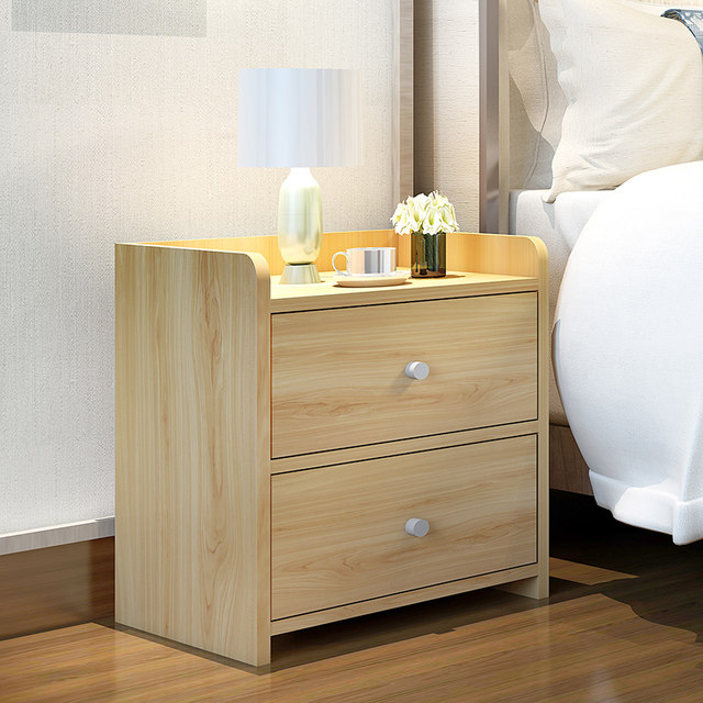 Bedside cabinet white simple modern storage cabinet with lock ...
