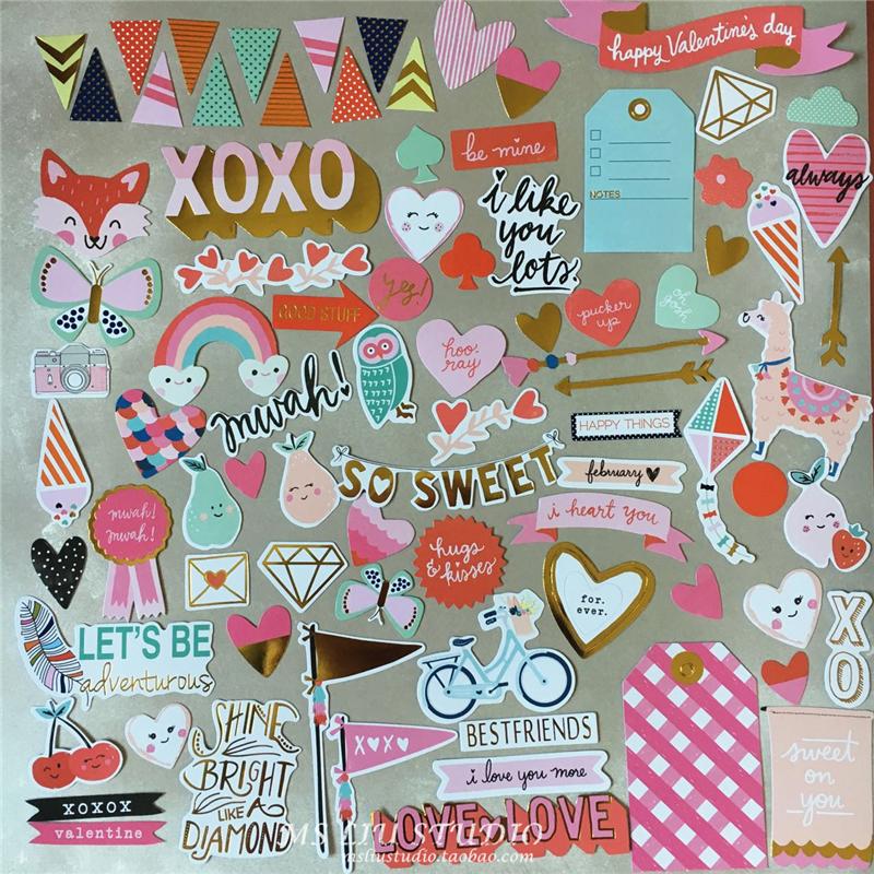 70pcs sweet love cardstock die cut stickers for scrapbooking happy planner card making journaling