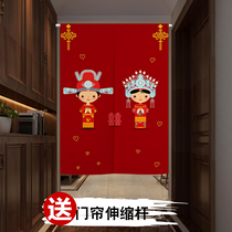 Room fabric curtain Living room Xuan Guan feng shui separation punching hole installation decoration
