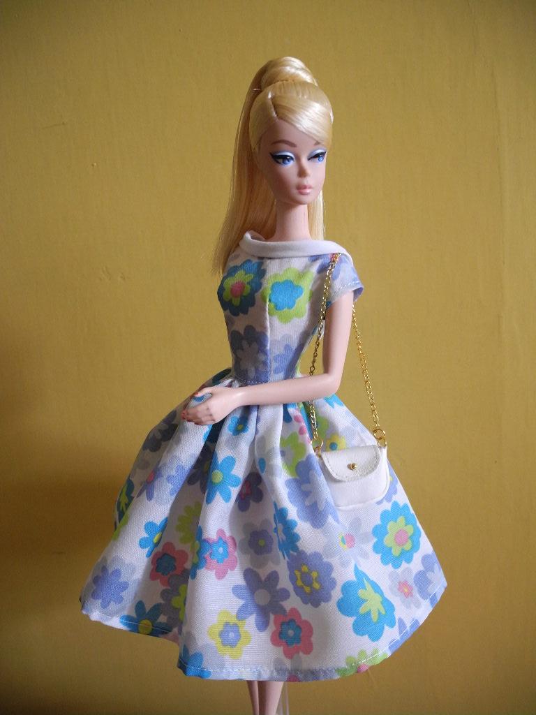 【桑莲独家娃衣纸样材料包】silkstone芭比复古连衣裙挎包组