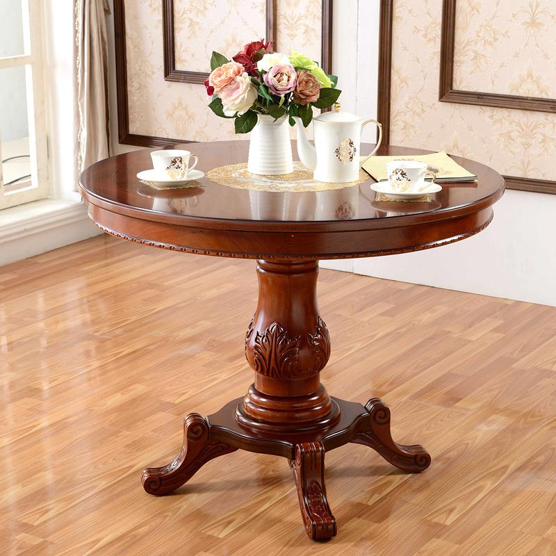 欧式实木餐桌饭桌小圆形茶几休闲咖啡桌会客洽谈桌圆桌80/1米户型